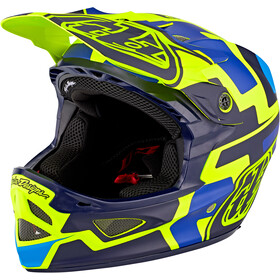 Troy Lee Designs D3 Fiberlite Speedcode Kypärä, yellow/blue